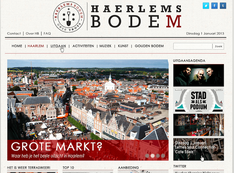 Over Haerlems Bodem | Website opzet 2013